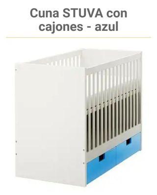 CUNA / CAMA STUVA IKEA CAJONES AZULES MADERA