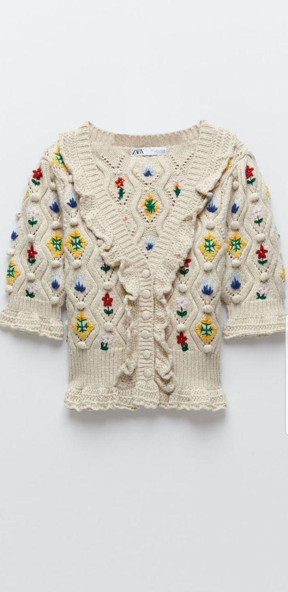 chaqueta punto flores bordadas es. especial ZARA