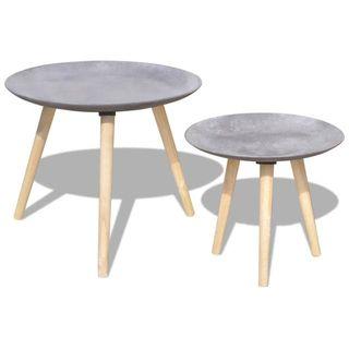 Mesas de centro hormigón gris 2 unidades 55 cm y