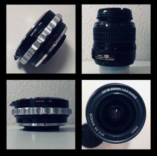 Objetivo Nikon 18-55 + adaptador Nikon a Fujifilm