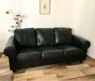 Sofá cuero negro