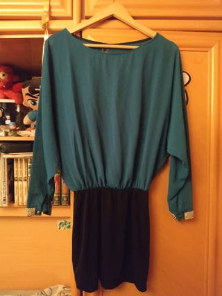 Vestido color verde y negro, ajustado