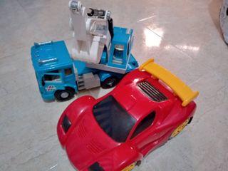 Excavadora y coche