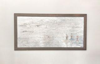cuadro abstracto de pintura acrílica en madera ,
