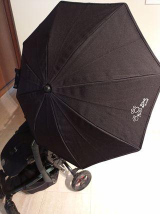 Paraguas parasol universal para cochecito y carrito con soporte Negro