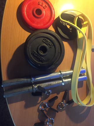 Mancuernas, discos y banda elásticas(pesas)