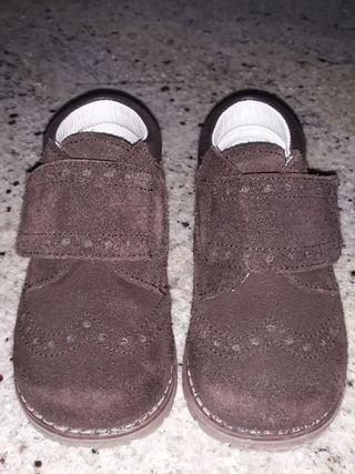 zapatos botin ante serraje marrones 21 niño piel