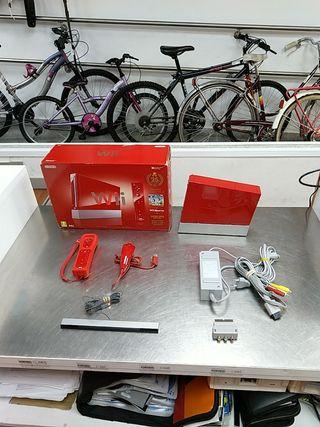 Nintendo Wii roja con caja y mandos
