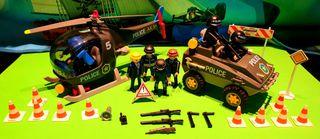 Lote de policía playmobil,helicóptero,todoterreno