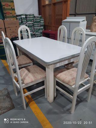 mesa con 6 sillas.150x85x75