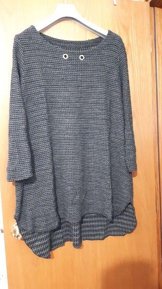 blusa talla grande gris