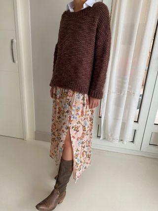 Falda de flores de Massimo Dutti