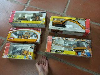 lote 5 excavadoras de metal de juguete, compact