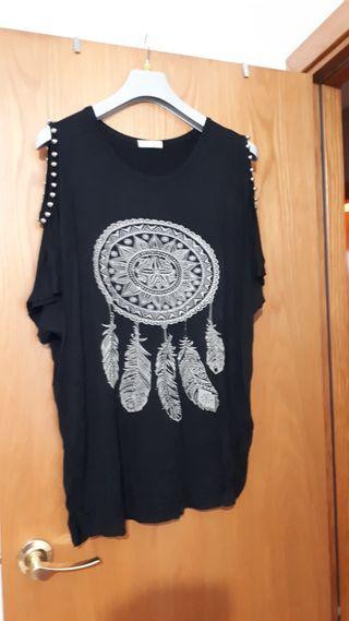blusa talla grande negra