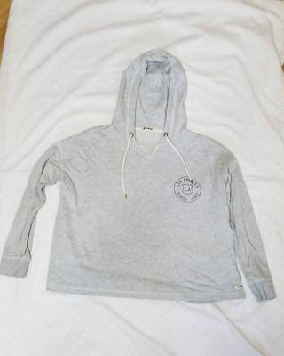 Sudadera crop con capucha gris