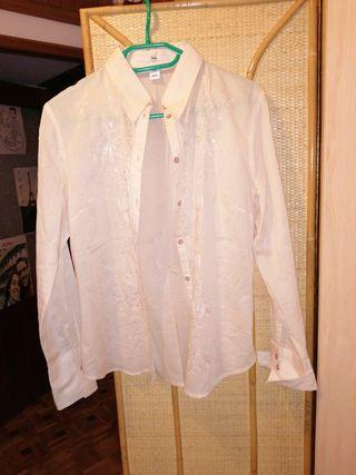 Camisa Beis con bordado H&M talla 40