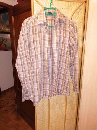 Camisa Larga talla 36 cuadros marrones