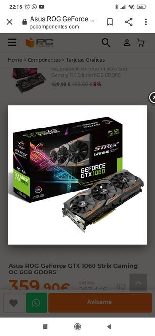 Asus ROG GeForce GTX 1060 Strix Gaming OC 6GB GDDR
