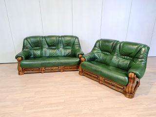 Sofas Verdes de Piel Y Madera Maciza Rusticos