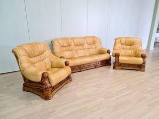 Sofas de Piel y Roble Amarillos Rusticos