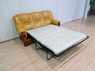 Sofa Cama Extensible de Piel Amarilla y Roble