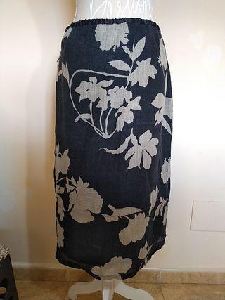 Falda larga flores lino T50