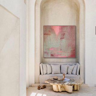 Cuadro abstracto rosas granate de lino