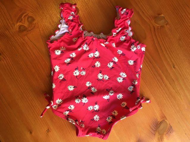 Bañador niña 6-12 meses, fucsia con flores