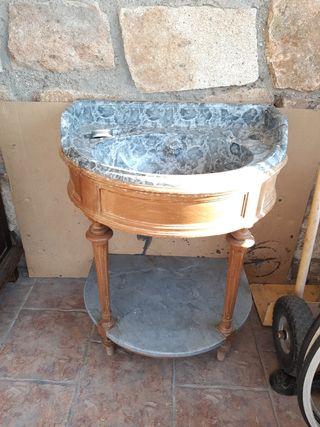 lavabo porcelana, madera y marmol