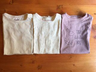 3 camisones/pijamas niña Lupilo 74/80, 6-12 meses