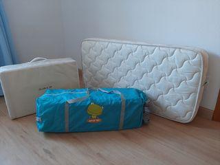 cuna de viaje + colchón de viaje + colchón de cuna