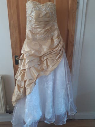 white and Gold ball gown