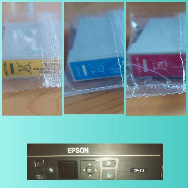 3 cartuchos de color impresora Epson XP-312