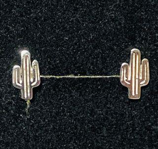 Pendientes en forma de cactus en plata de ley 925