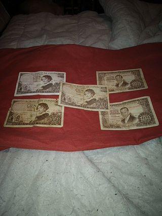 lote 5 billetes 100 pesetas