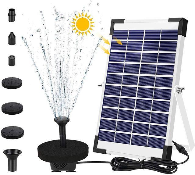 Solar Fuente Bomba, 5W Fuente de Jardín Solar