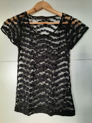 Blusa negra transparente, marca The Limited