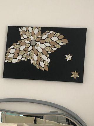 Cuadro flor relieve hecho a mano
