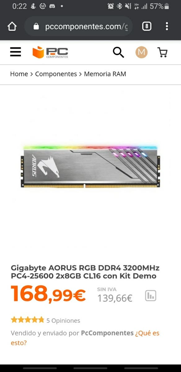 16 gb memoria RAM 3200 AORUS RGB + Demo kit