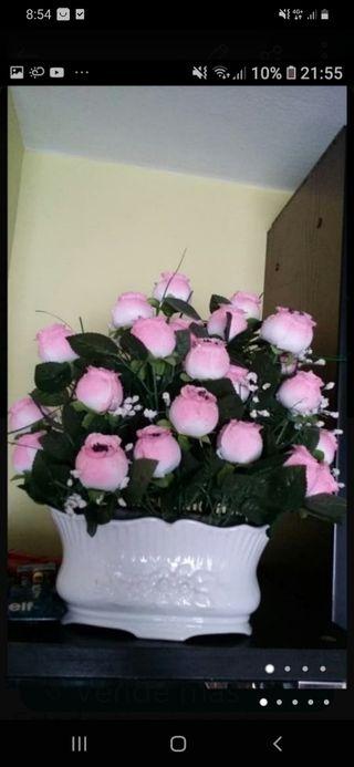 jardinera de porcelana Sambo con flor artificial