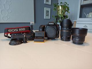 Cámara Canon 80D + Objetivos