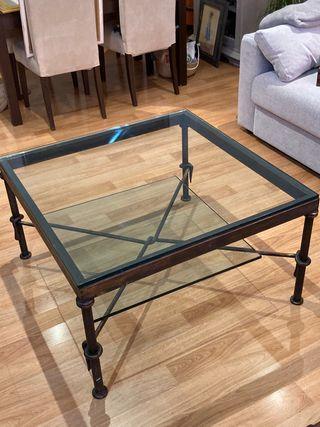 Mesa centro hierro forjado y cristal