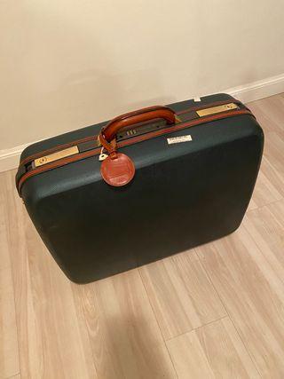 maleta Samsonite mediana, verde rematada en cuero