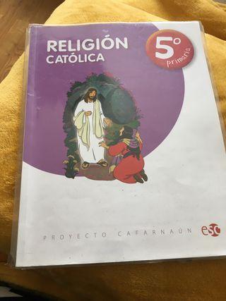 Libro de religión de quinto de primaria en buen