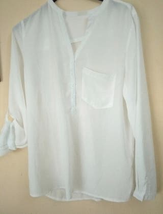 Blusa fluida blanco roto mujer talla 42