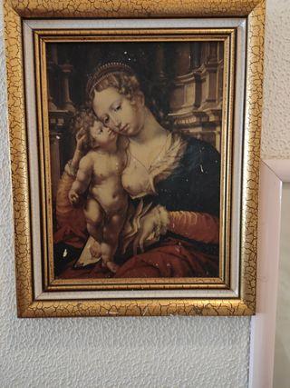 Cuadro antiguo la Virgen de la buena leche.