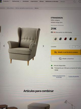Sillón Orejero Strandmon Nuevo