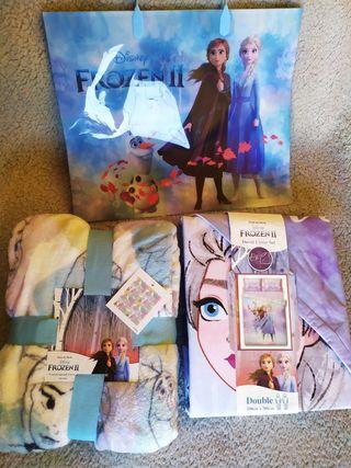 Pack Frozen II Disney funda nórdica, manta y bolsa