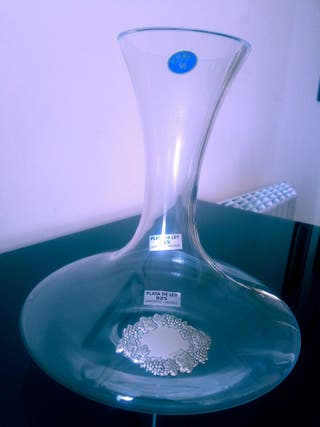 Decantador cristal de bohemia con aplique de plata