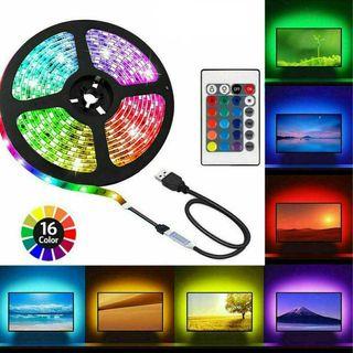 Tira LED luz 5m adhesiva USB hogar Decoración TV